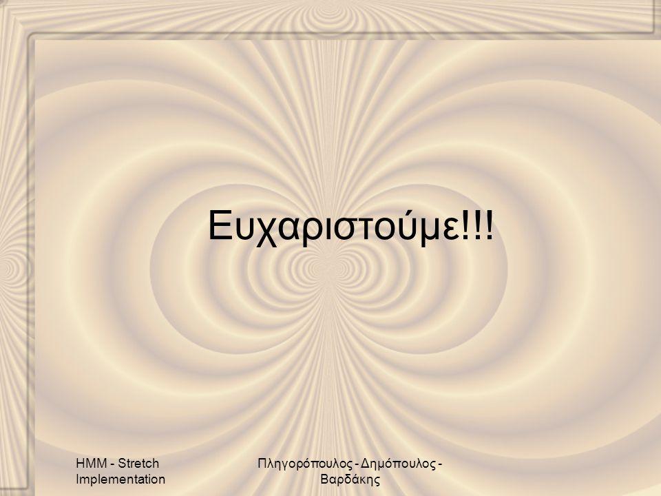 HMM - Stretch Implementation Πληγορόπουλος - Δημόπουλος - Βαρδάκης Ευχαριστούμε!!!