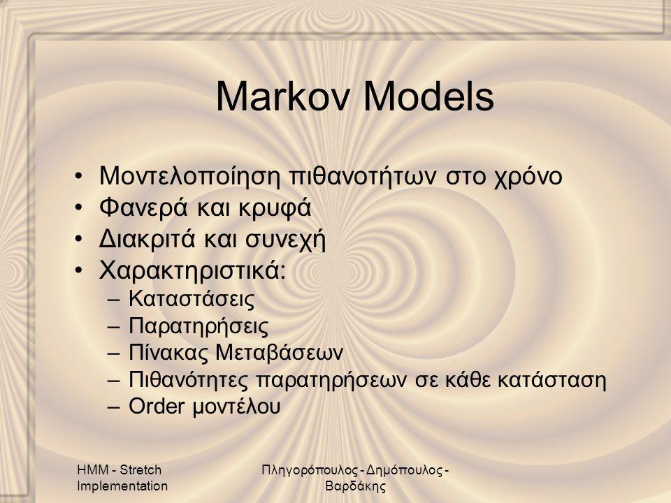 HMM - Stretch Implementation Πληγορόπουλος - Δημόπουλος - Βαρδάκης Markov Models •Μοντελοποίηση πιθανοτήτων στο χρόνο •Φανερά και κρυφά •Διακριτά και συνεχή •Χαρακτηριστικά: –Καταστάσεις –Παρατηρήσεις –Πίνακας Μεταβάσεων –Πιθανότητες παρατηρήσεων σε κάθε κατάσταση –Order μοντέλου