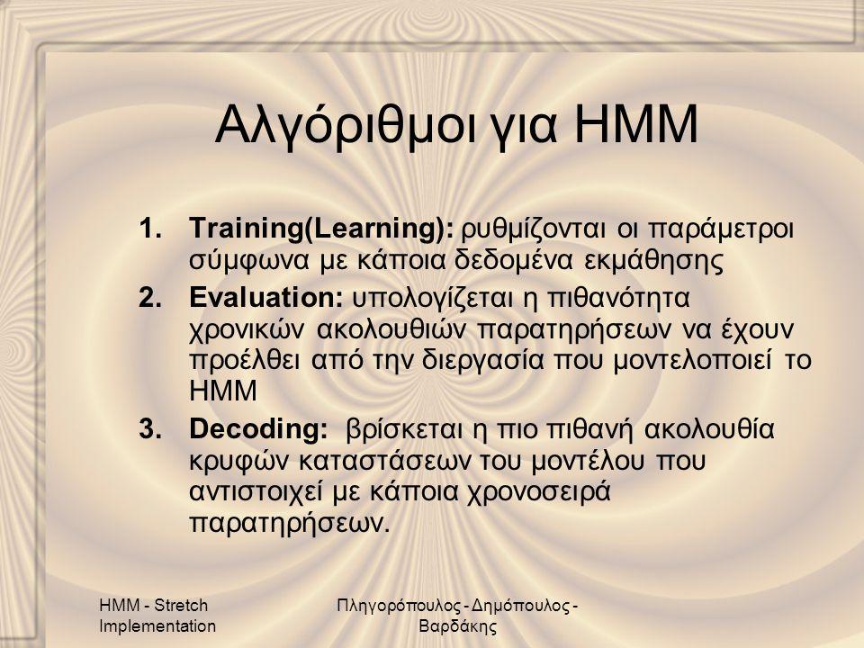 HMM - Stretch Implementation Πληγορόπουλος - Δημόπουλος - Βαρδάκης Αλγόριθμοι για HMM 1.Training(Learning): ρυθμίζονται οι παράμετροι σύμφωνα με κάποια δεδομένα εκμάθησης 2.Evaluation: υπολογίζεται η πιθανότητα χρονικών ακολουθιών παρατηρήσεων να έχουν προέλθει από την διεργασία που μοντελοποιεί το HMM 3.Decoding: βρίσκεται η πιο πιθανή ακολουθία κρυφών καταστάσεων του μοντέλου που αντιστοιχεί με κάποια χρονοσειρά παρατηρήσεων.
