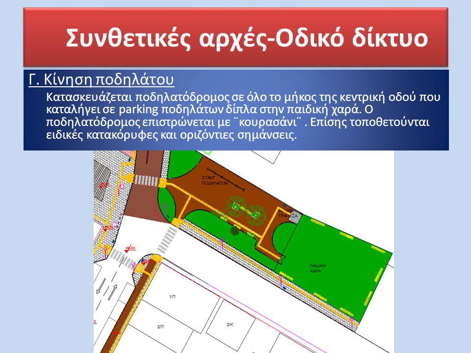 Συνθετικές αρχές-Οδικό δίκτυο Γ. Κίνηση ποδηλάτου Κατασκευάζεται ποδηλατόδρομος σε όλο το μήκος της κεντρική οδού που καταλήγει σε parking ποδηλάτων δ