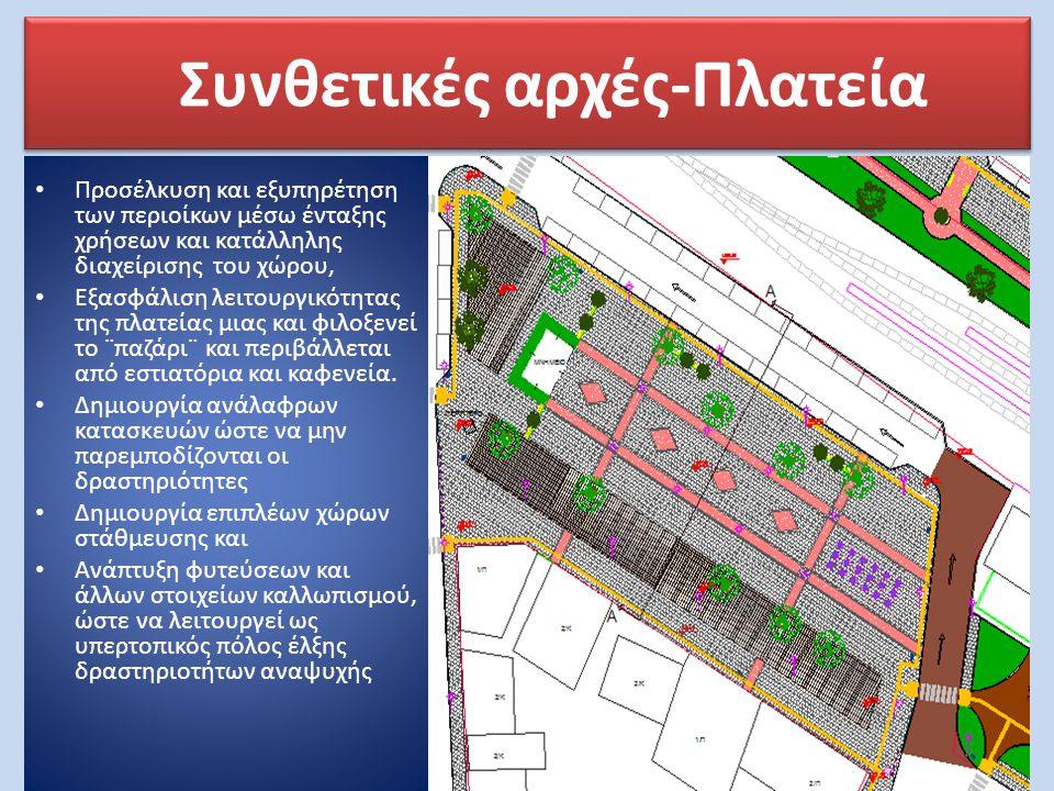 Συνθετικές αρχές-Πλατεία • Προσέλκυση και εξυπηρέτηση των περιοίκων μέσω ένταξης χρήσεων και κατάλληλης διαχείρισης του χώρου, • Εξασφάλιση λειτουργικ