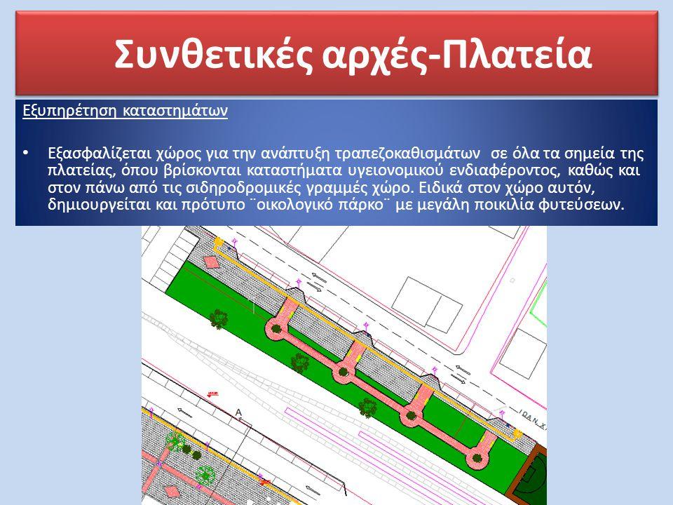 Συνθετικές αρχές-Πλατεία Εξυπηρέτηση καταστημάτων • Εξασφαλίζεται χώρος για την ανάπτυξη τραπεζοκαθισμάτων σε όλα τα σημεία της πλατείας, όπου βρίσκον