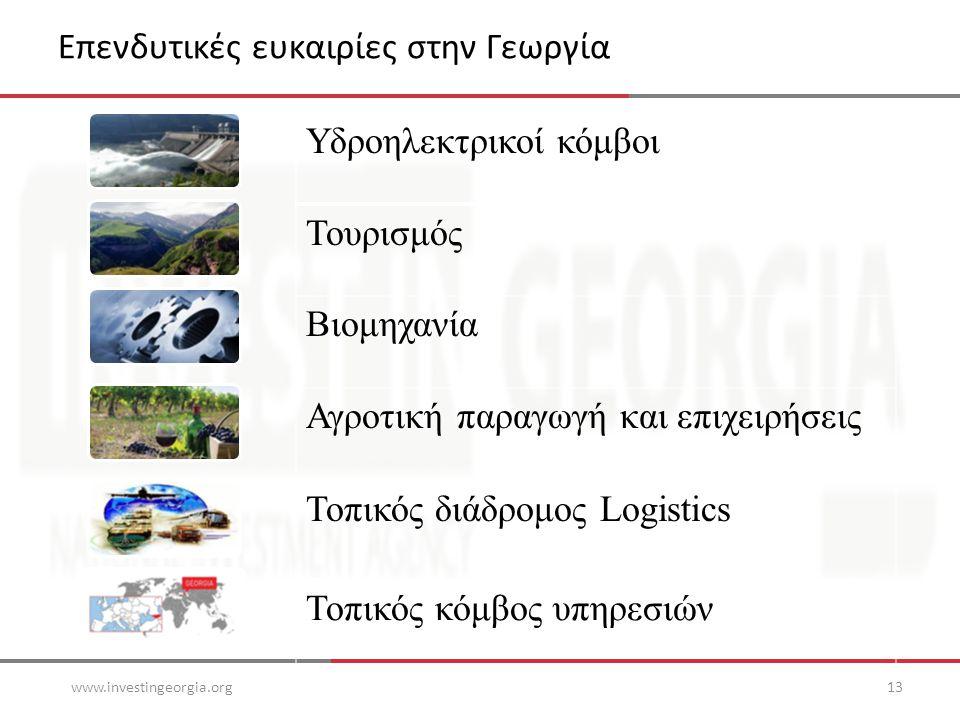 Επενδυτικές ευκαιρίες στην Γεωργία www.investingeorgia.org13 Υδροηλεκτρικοί κόμβοι Τουρισμός Βιομηχανία Αγροτική παραγωγή και επιχειρήσεις Τοπικός διάδρομος Logistics Τοπικός κόμβος υπηρεσιών