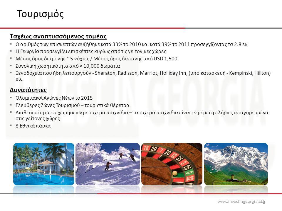 Τουρισμός www.investingeorgia.org15 Ταχέως αναπτυσσόμενος τομέας ▪ Ο αριθμός των επισκεπτών αυξήθηκε κατά 33% το 2010 και κατά 39% το 2011 προσεγγίζοντας τα 2.8 εκ ▪ Η Γεωργία προσεγγίζει επισκέπτες κυρίως από τις γειτονικές χώρες ▪ Μέσος όρος διαμονής ~ 5 νύχτες / Μέσος όρος δαπάνης από USD 1,500 ▪ Συνολική χωρητικότητα από < 10,000 δωμάτια ▪ Ξενοδοχεία που ήδη λειτουργούν - Sheraton, Radisson, Marriot, Holliday Inn, (υπό κατασκευή - Kempinski, Hillton) etc.