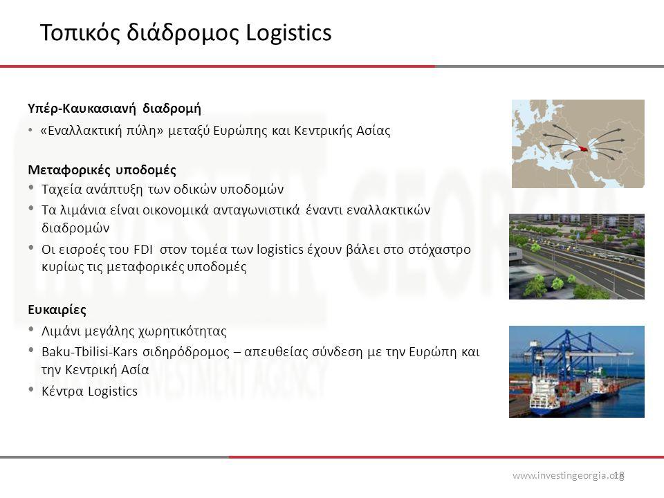 Τοπικός διάδρομος Logistics www.investingeorgia.org18 Υπέρ-Καυκασιανή διαδρομή • «Εναλλακτική πύλη» μεταξύ Ευρώπης και Κεντρικής Ασίας Μεταφορικές υποδομές • Ταχεία ανάπτυξη των οδικών υποδομών • Τα λιμάνια είναι οικονομικά ανταγωνιστικά έναντι εναλλακτικών διαδρομών • Οι εισροές του FDI στον τομέα των logistics έχουν βάλει στο στόχαστρο κυρίως τις μεταφορικές υποδομές Ευκαιρίες • Λιμάνι μεγάλης χωρητικότητας • Baku-Tbilisi-Kars σιδηρόδρομος – απευθείας σύνδεση με την Ευρώπη και την Κεντρική Ασία • Κέντρα Logistics