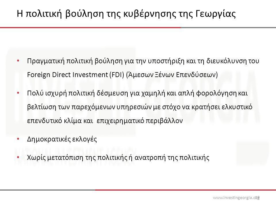 Η πολιτική βούληση της κυβέρνησης της Γεωργίας • Πραγματική πολιτική βούληση για την υποστήριξη και τη διευκόλυνση του Foreign Direct Investment (FDI) (Άμεσων Ξένων Επενδύσεων) • Πολύ ισχυρή πολιτική δέσμευση για χαμηλή και απλή φορολόγηση και βελτίωση των παρεχόμενων υπηρεσιών με στόχο να κρατήσει ελκυστικό επενδυτικό κλίμα και επιχειρηματικό περιβάλλον • Δημοκρατικές εκλογές • Χωρίς μετατόπιση της πολιτικής ή ανατροπή της πολιτικής www.investingeorgia.org19