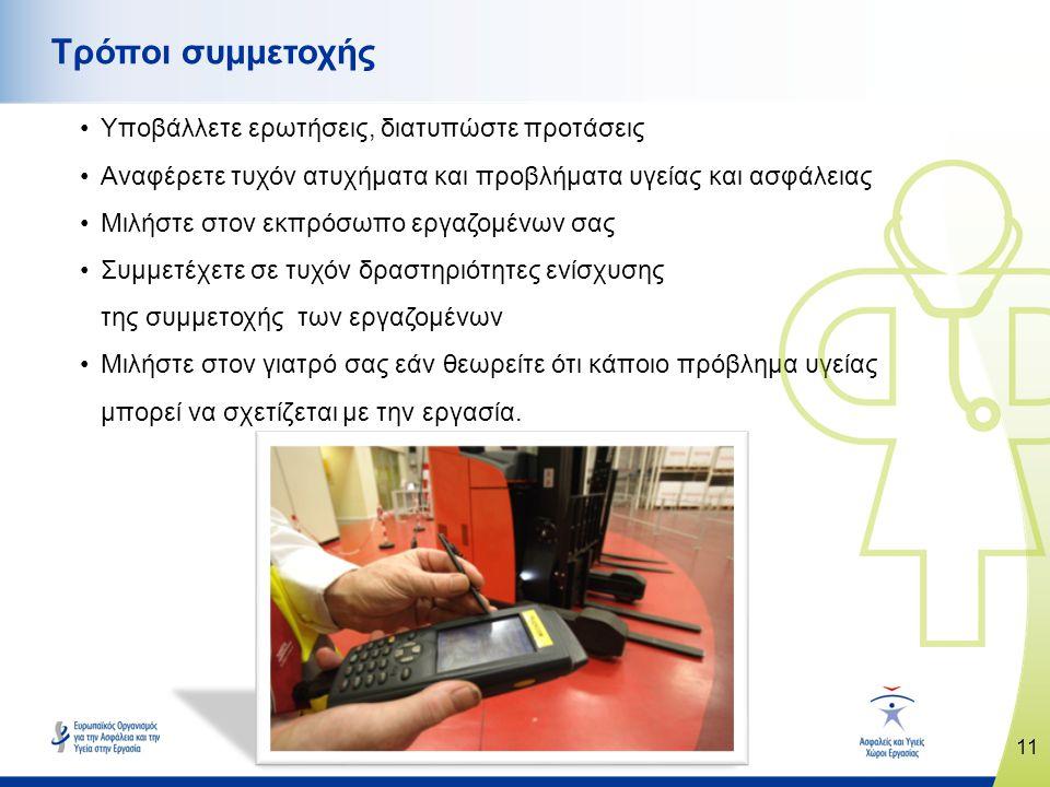 11 www.healthy-workplaces.eu Τρόποι συμμετοχής •Υποβάλλετε ερωτήσεις, διατυπώστε προτάσεις •Αναφέρετε τυχόν ατυχήματα και προβλήματα υγείας και ασφάλειας •Μιλήστε στον εκπρόσωπο εργαζομένων σας •Συμμετέχετε σε τυχόν δραστηριότητες ενίσχυσης της συμμετοχής των εργαζομένων •Μιλήστε στον γιατρό σας εάν θεωρείτε ότι κάποιο πρόβλημα υγείας μπορεί να σχετίζεται με την εργασία.