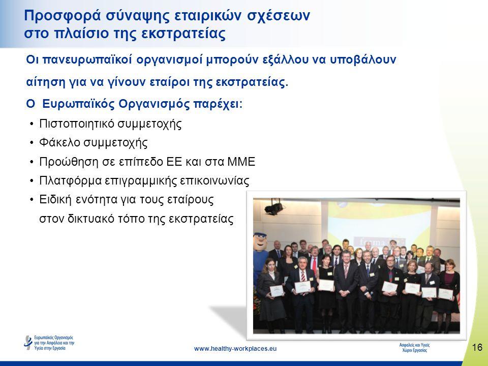16 www.healthy-workplaces.eu Προσφορά σύναψης εταιρικών σχέσεων στο πλαίσιο της εκστρατείας Οι πανευρωπαϊκοί οργανισμοί μπορούν εξάλλου να υποβάλουν αίτηση για να γίνουν εταίροι της εκστρατείας.