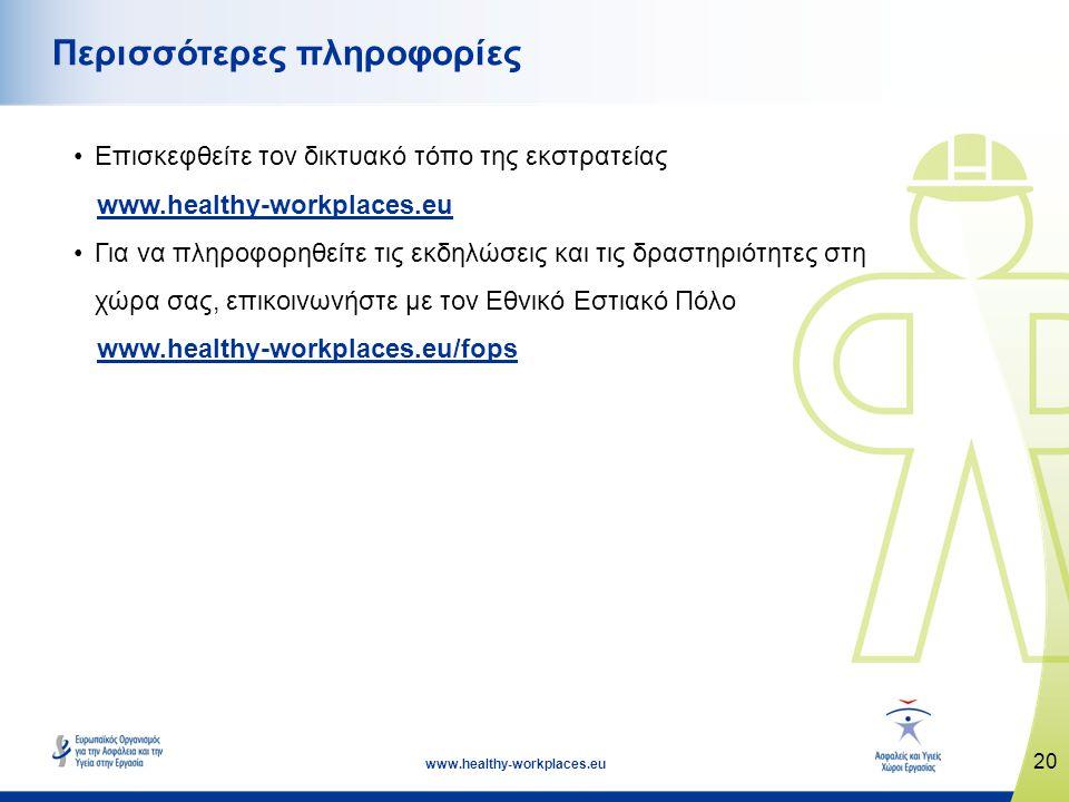 20 www.healthy-workplaces.eu Περισσότερες πληροφορίες •Επισκεφθείτε τον δικτυακό τόπο της εκστρατείας www.healthy-workplaces.eu •Για να πληροφορηθείτε τις εκδηλώσεις και τις δραστηριότητες στη χώρα σας, επικοινωνήστε με τον Εθνικό Εστιακό Πόλο www.healthy-workplaces.eu/fops