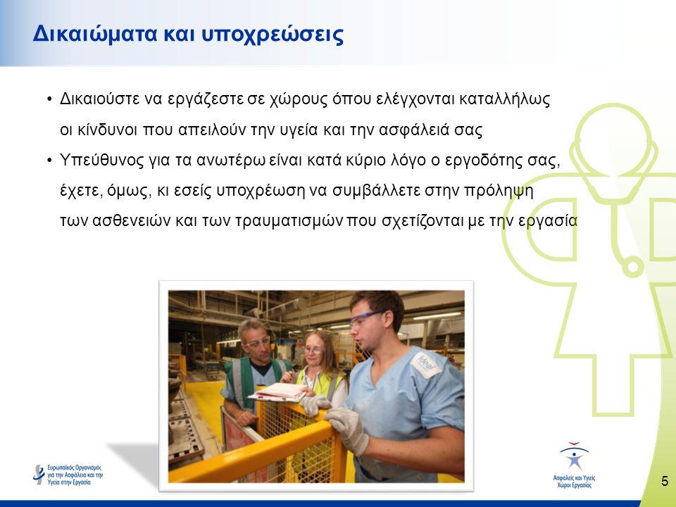 5 www.healthy-workplaces.eu Δικαιώματα και υποχρεώσεις •Δικαιούστε να εργάζεστε σε χώρους όπου ελέγχονται καταλλήλως οι κίνδυνοι που απειλούν την υγεία και την ασφάλειά σας •Υπεύθυνος για τα ανωτέρω είναι κατά κύριο λόγο ο εργοδότης σας, έχετε, όμως, κι εσείς υποχρέωση να συμβάλλετε στην πρόληψη των ασθενειών και των τραυματισμών που σχετίζονται με την εργασία