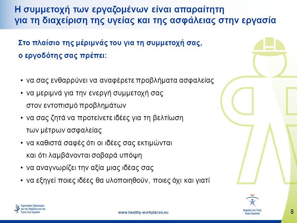 8 www.healthy-workplaces.eu Η συμμετοχή των εργαζομένων είναι απαραίτητη για τη διαχείριση της υγείας και της ασφάλειας στην εργασία Στο πλαίσιο της μέριμνάς του για τη συμμετοχή σας, ο εργοδότης σας πρέπει: •να σας ενθαρρύνει να αναφέρετε προβλήματα ασφαλείας •να μεριμνά για την ενεργή συμμετοχή σας στον εντοπισμό προβλημάτων •να σας ζητά να προτείνετε ιδέες για τη βελτίωση των μέτρων ασφαλείας •να καθιστά σαφές ότι οι ιδέες σας εκτιμώνται και ότι λαμβάνονται σοβαρά υπόψη •να αναγνωρίζει την αξία μιας ιδέας σας •να εξηγεί ποιες ιδέες θα υλοποιηθούν, ποιες όχι και γιατί