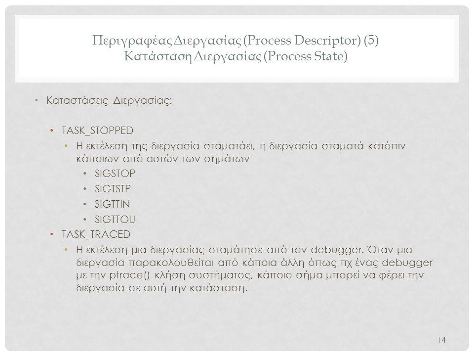 Περιγραφέας Διεργασίας (Process Descriptor) (5) Κατάσταση Διεργασίας (Process State) • Καταστάσεις Διεργασίας: • TASK_STOPPED • H εκτέλεση της διεργασ