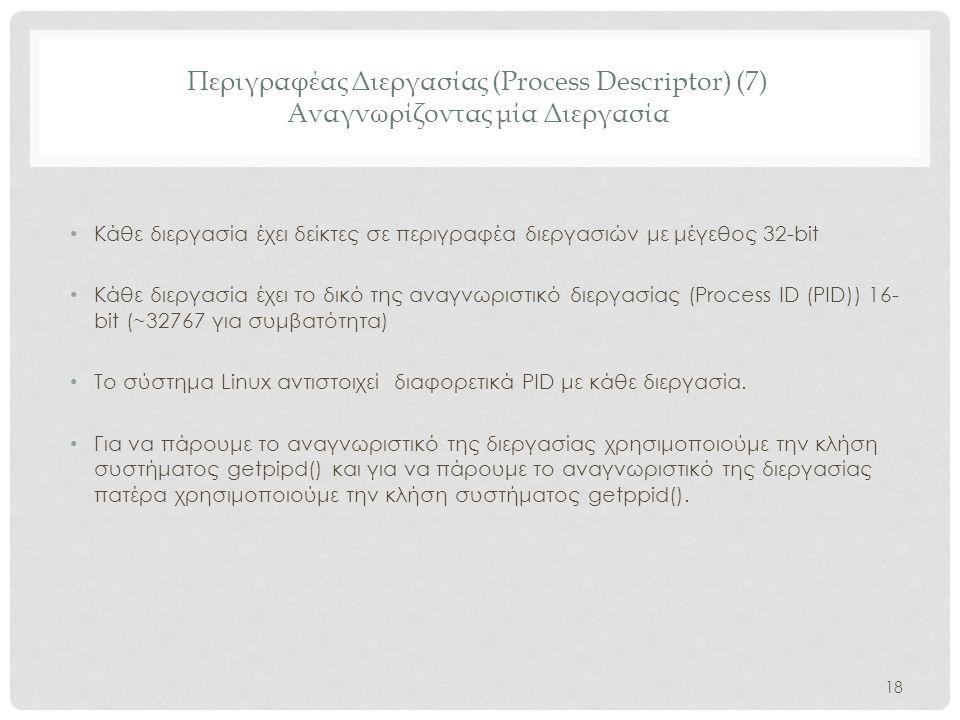 Περιγραφέας Διεργασίας (Process Descriptor) (7) Αναγνωρίζοντας μία Διεργασία • Κάθε διεργασία έχει δείκτες σε περιγραφέα διεργασιών με μέγεθος 32-bit