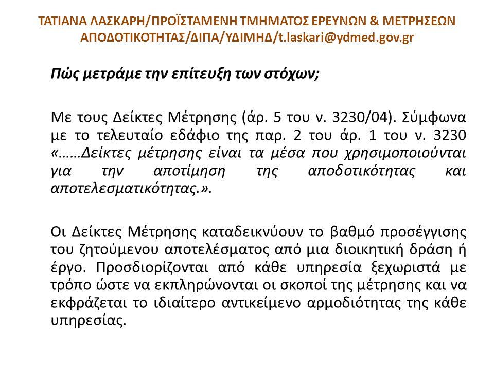 ΤΑΤΙΑΝΑ ΛΑΣΚΑΡΗ/ΠΡΟΪΣΤΑΜΕΝΗ ΤΜΗΜΑΤΟΣ ΕΡΕΥΝΩΝ & ΜΕΤΡΗΣΕΩΝ ΑΠΟΔΟΤΙΚΟΤΗΤΑΣ/ΔΙΠΑ/ΥΔΙΜΗΔ/t.laskari@ydmed.gov.gr Πώς μετράμε την επίτευξη των στόχων; Με του
