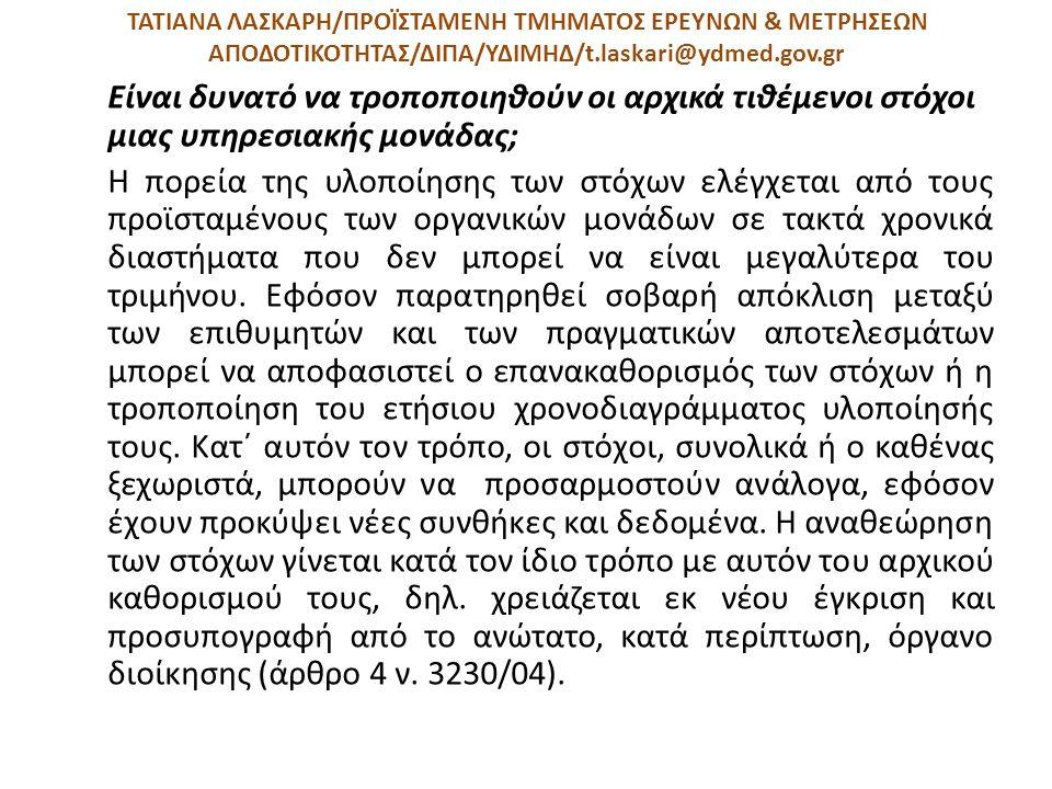 ΤΑΤΙΑΝΑ ΛΑΣΚΑΡΗ/ΠΡΟΪΣΤΑΜΕΝΗ ΤΜΗΜΑΤΟΣ ΕΡΕΥΝΩΝ & ΜΕΤΡΗΣΕΩΝ ΑΠΟΔΟΤΙΚΟΤΗΤΑΣ/ΔΙΠΑ/ΥΔΙΜΗΔ/t.laskari@ydmed.gov.gr Είναι δυνατό να τροποποιηθούν οι αρχικά τιθ