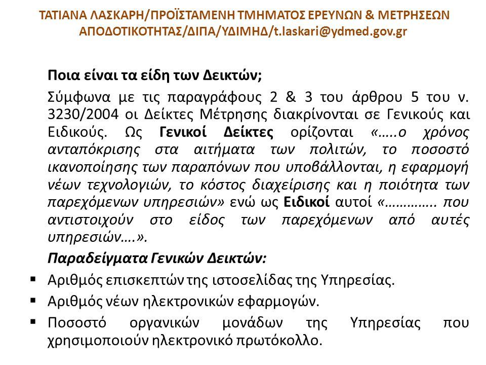 ΤΑΤΙΑΝΑ ΛΑΣΚΑΡΗ/ΠΡΟΪΣΤΑΜΕΝΗ ΤΜΗΜΑΤΟΣ ΕΡΕΥΝΩΝ & ΜΕΤΡΗΣΕΩΝ ΑΠΟΔΟΤΙΚΟΤΗΤΑΣ/ΔΙΠΑ/ΥΔΙΜΗΔ/t.laskari@ydmed.gov.gr Ποια είναι τα είδη των Δεικτών; Σύμφωνα με