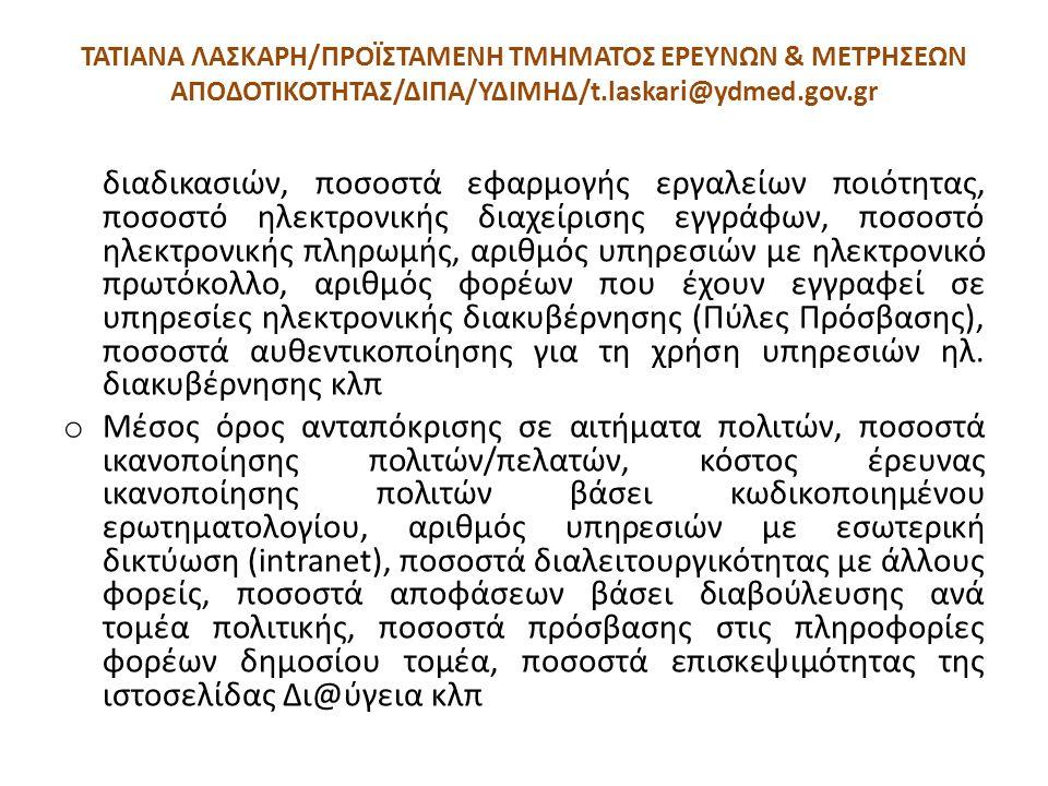 ΤΑΤΙΑΝΑ ΛΑΣΚΑΡΗ/ΠΡΟΪΣΤΑΜΕΝΗ ΤΜΗΜΑΤΟΣ ΕΡΕΥΝΩΝ & ΜΕΤΡΗΣΕΩΝ ΑΠΟΔΟΤΙΚΟΤΗΤΑΣ/ΔΙΠΑ/ΥΔΙΜΗΔ/t.laskari@ydmed.gov.gr διαδικασιών, ποσοστά εφαρμογής εργαλείων πο