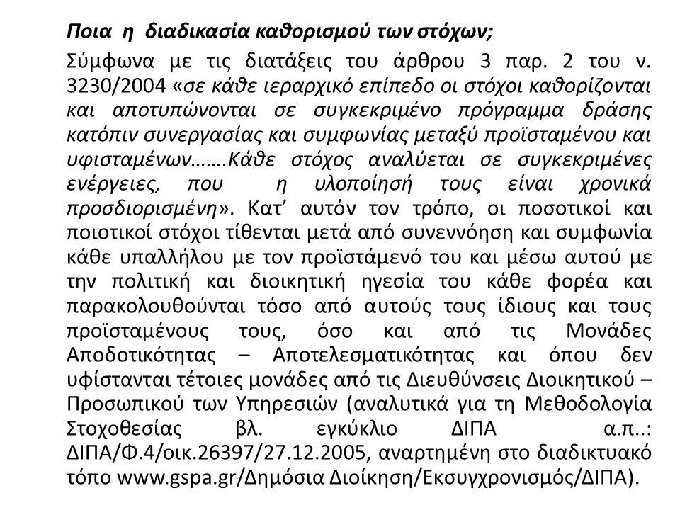 Ποια η διαδικασία καθορισμού των στόχων; Σύμφωνα με τις διατάξεις του άρθρου 3 παρ. 2 του ν. 3230/2004 «σε κάθε ιεραρχικό επίπεδο οι στόχοι καθορίζοντ