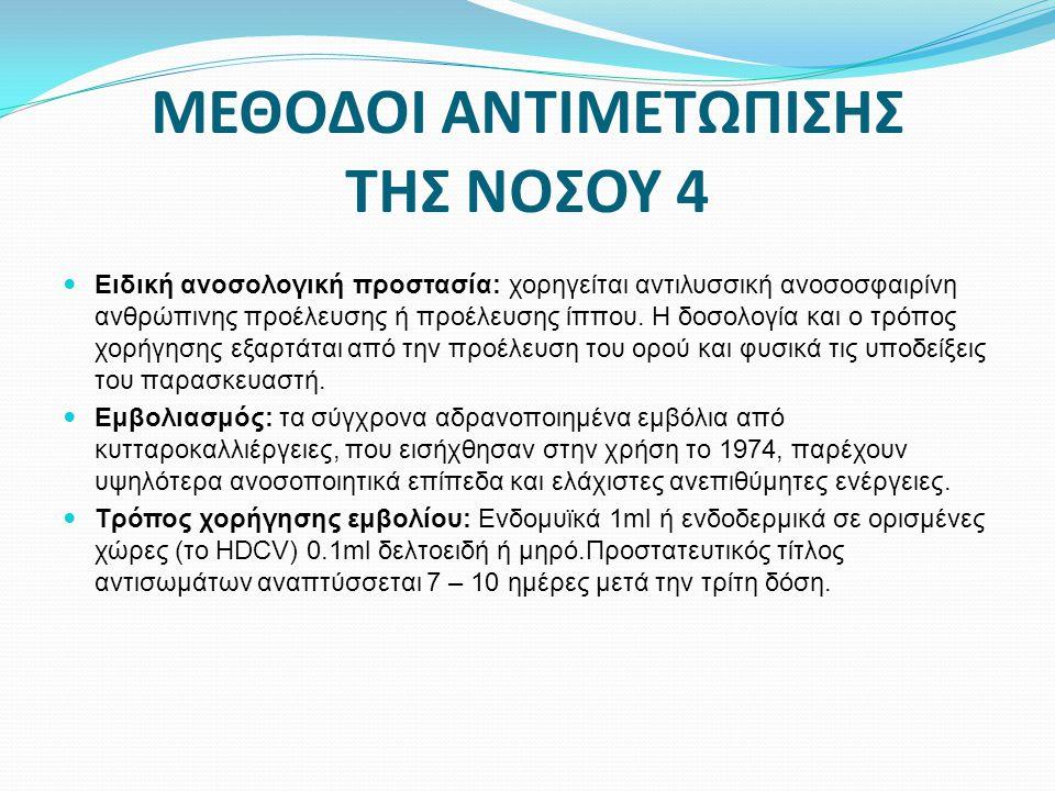 ΜΕΘΟΔΟΙ ΑΝΤΙΜΕΤΩΠΙΣΗΣ ΤΗΣ ΝΟΣΟΥ 4  Ειδική ανοσολογική προστασία: χορηγείται αντιλυσσική ανοσοσφαιρίνη ανθρώπινης προέλευσης ή προέλευσης ίππου. Η δοσ