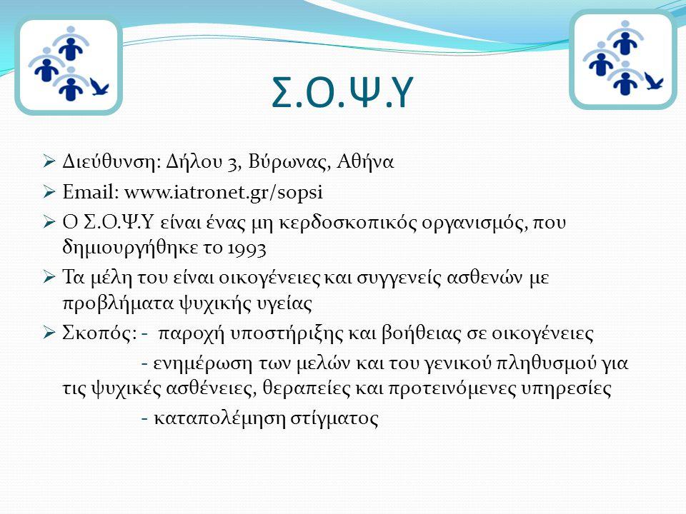 Σ.Ο.Ψ.Υ  Διεύθυνση: Δήλου 3, Βύρωνας, Αθήνα  Email: www.iatronet.gr/sopsi  Ο Σ.Ο.Ψ.Υ είναι ένας μη κερδοσκοπικός οργανισμός, που δημιουργήθηκε το 1993  Τα μέλη του είναι οικογένειες και συγγενείς ασθενών με προβλήματα ψυχικής υγείας  Σκοπός: - παροχή υποστήριξης και βοήθειας σε οικογένειες - ενημέρωση των μελών και του γενικού πληθυσμού για τις ψυχικές ασθένειες, θεραπείες και προτεινόμενες υπηρεσίες - καταπολέμηση στίγματος