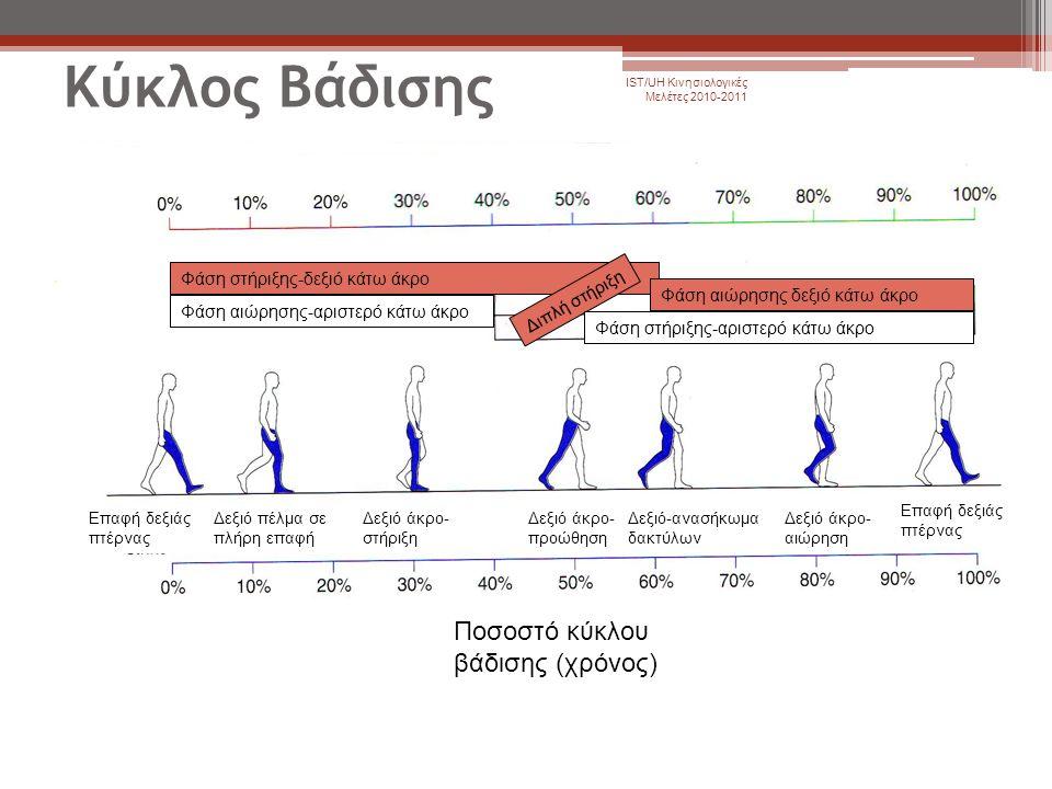 Κύκλος Βάδισης IST/UH Κινησιολογικές Μελέτες 2010-2011 Φάση στήριξης-δεξιό κάτω άκρο Φάση αιώρησης-αριστερό κάτω άκρο Διπλή στήριξη Φάση αιώρησης δεξι