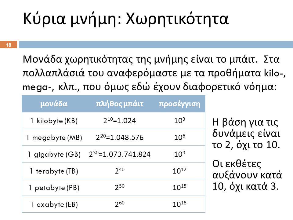 Κύρια μνήμη : Χωρητικότητα 18 Μονάδα χωρητικότητας της μνήμης είναι το μπάιτ.