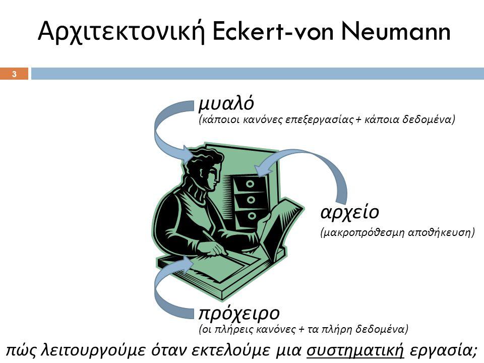 Αρχιτεκτονική Eckert-von Neumann 3 μυαλό ( κάποιοι κανόνες επεξεργασίας + κάποια δεδομένα ) πρόχειρο ( οι πλήρεις κανόνες + τα πλήρη δεδομένα ) πώς λειτουργούμε όταν εκτελούμε μια συστηματική εργασία ; αρχείο ( μακροπρόθεσμη αποθήκευση )