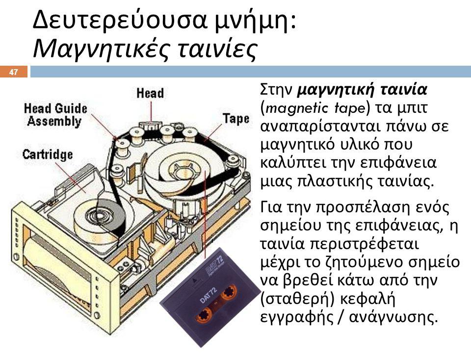 Δευτερεύουσα μνήμη : Μαγνητικές ταινίες Στην μαγνητική ταινία (magnetic tape) τα μπιτ αναπαρίστανται πάνω σε μαγνητικό υλικό που καλύπτει την επιφάνεια μιας πλαστικής ταινίας.
