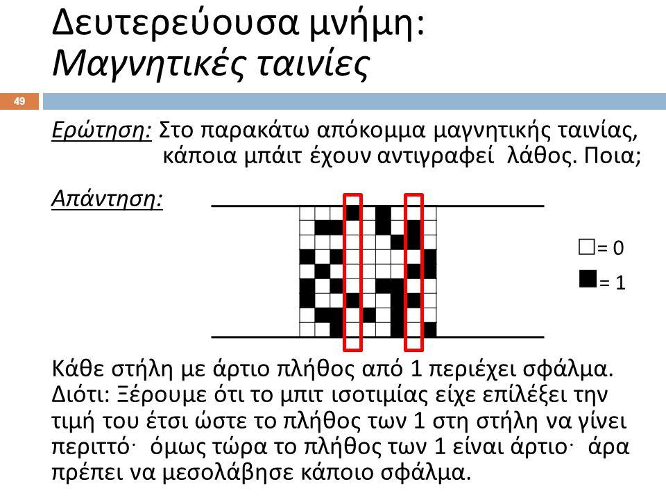 49 Ερώτηση : Στο παρακάτω απόκομμα μαγνητικής ταινίας, κάποια μπάιτ έχουν αντιγραφεί λάθος. Ποια ; Απάντηση : Κάθε στήλη με άρτιο πλήθος από 1 περιέχε