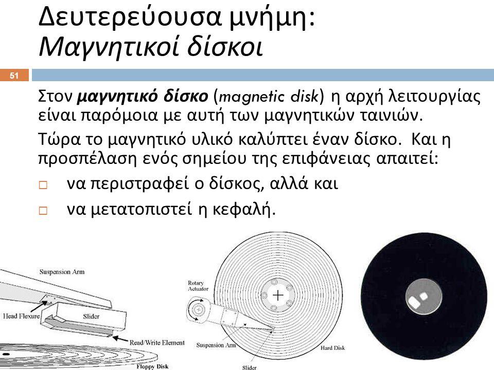 Στον μαγνητικό δίσκο (magnetic disk) η αρχή λειτουργίας είναι παρόμοια με αυτή των μαγνητικών ταινιών.