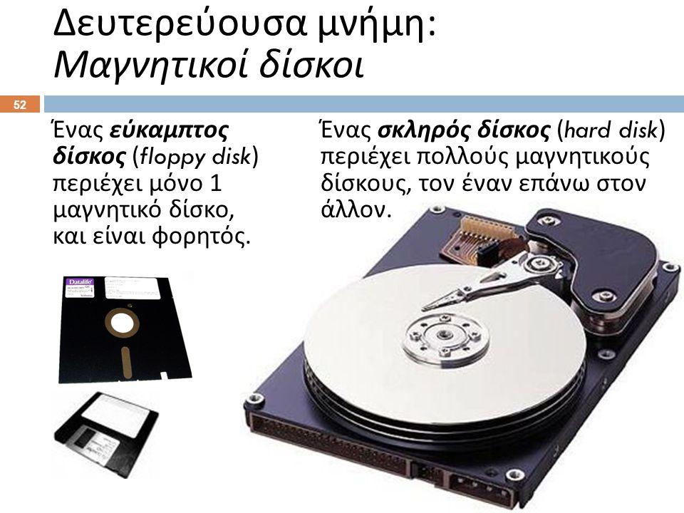 Ένας σκληρός δίσκος (hard disk) περιέχει πολλούς μαγνητικούς δίσκους, τον έναν επάνω στον άλλον.