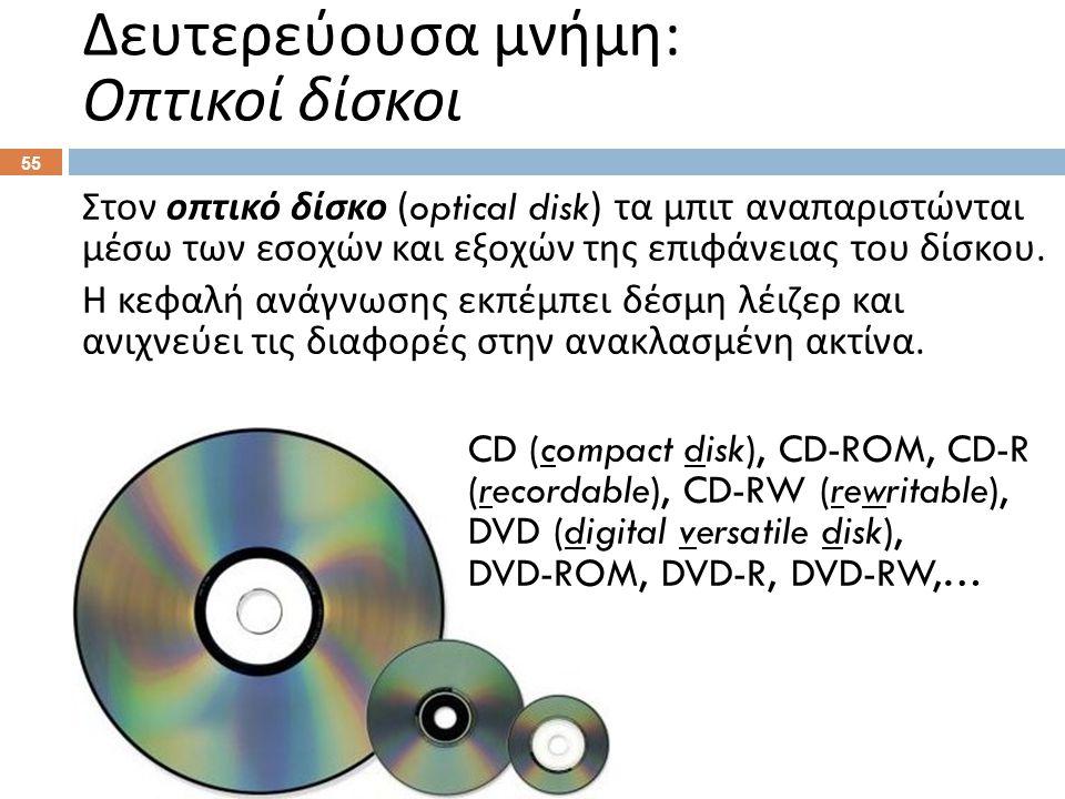Στον οπτικό δίσκο (optical disk) τα μπιτ αναπαριστώνται μέσω των εσοχών και εξοχών της επιφάνειας του δίσκου. Η κεφαλή ανάγνωσης εκπέμπει δέσμη λέιζερ