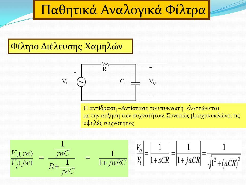 Παθητικά Αναλογικά Φίλτρα Φίλτρο Διέλευσης Χαμηλών R CVIVI VOVO + _ + _ Η αντίδραση –Αντίσταση του πυκνωτή ελαττώνεται με την αύξηση των συχνοτήτων.