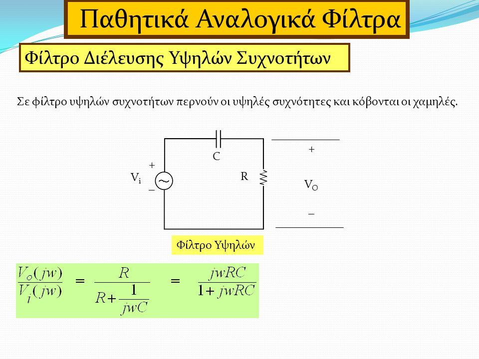 Παθητικά Αναλογικά Φίλτρα Φίλτρο Διέλευσης Υψηλών Συχνοτήτων Σε φίλτρο υψηλών συχνοτήτων περνούν οι υψηλές συχνότητες και κόβονται οι χαμηλές.