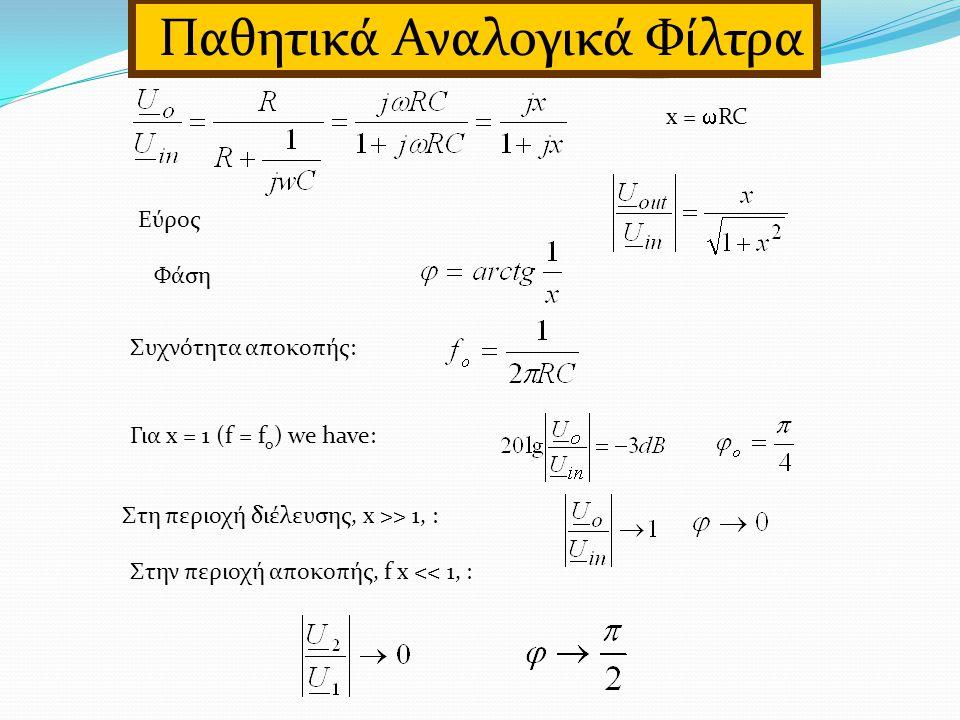Εύρος Φάση Συχνότητα αποκοπής: Για x = 1 (f = f o ) we have: Στη περιοχή διέλευσης, x >> 1, : Στην περιοχή αποκοπής, f x << 1, : Παθητικά Αναλογικά Φίλτρα x =  RC