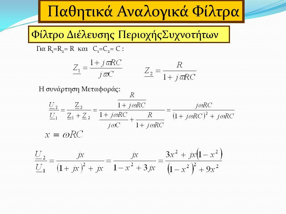 Για R 1 =R 2 = R και C 1 =C 2 = C : Η συνάρτηση Μεταφοράς: Παθητικά Αναλογικά Φίλτρα Φίλτρο Διέλευσης ΠεριοχήςΣυχνοτήτων