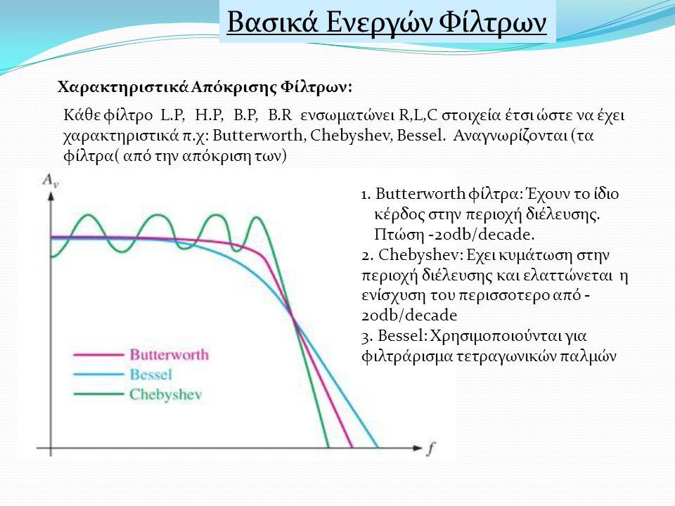 Βασικά Ενεργών Φίλτρων Χαρακτηριστικά Απόκρισης Φίλτρων: Κάθε φίλτρο L.P, H.P, B.P, B.R ενσωματώνει R,L,C στοιχεία έτσι ώστε να έχει χαρακτηριστικά π.χ: Butterworth, Chebyshev, Bessel.