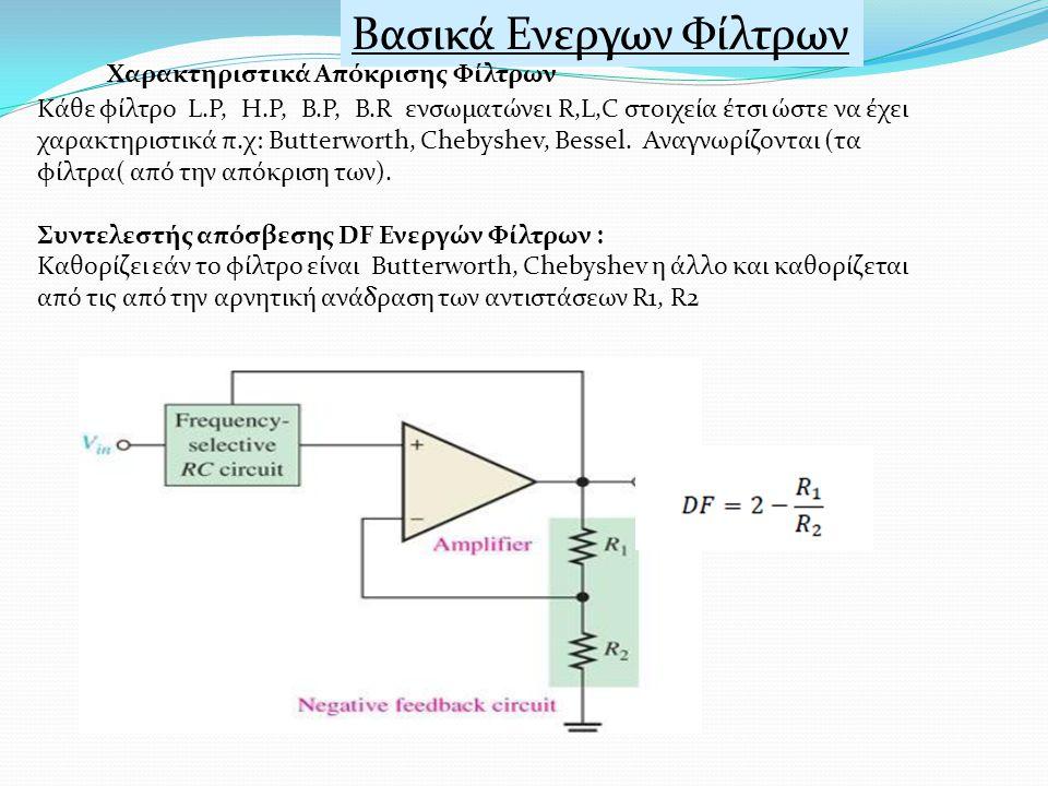 Βασικά Ενεργων Φίλτρων Χαρακτηριστικά Απόκρισης Φίλτρων Κάθε φίλτρο L.P, H.P, B.P, B.R ενσωματώνει R,L,C στοιχεία έτσι ώστε να έχει χαρακτηριστικά π.χ: Butterworth, Chebyshev, Bessel.