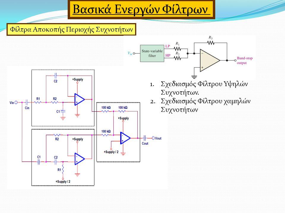 Φίλτρα Αποκοπής Περιοχής Συχνοτήτων Βασικά Ενεργών Φίλτρων 1.Σχεδιασμός Φίλτρου Υψηλών Συχνοτήτων.