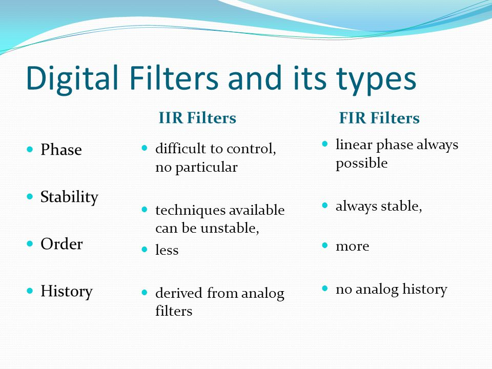 Digital Filters and its types IIR Filters FIR Filters  difficult to control, no particular  techniques available can be unstable,  less  derived f