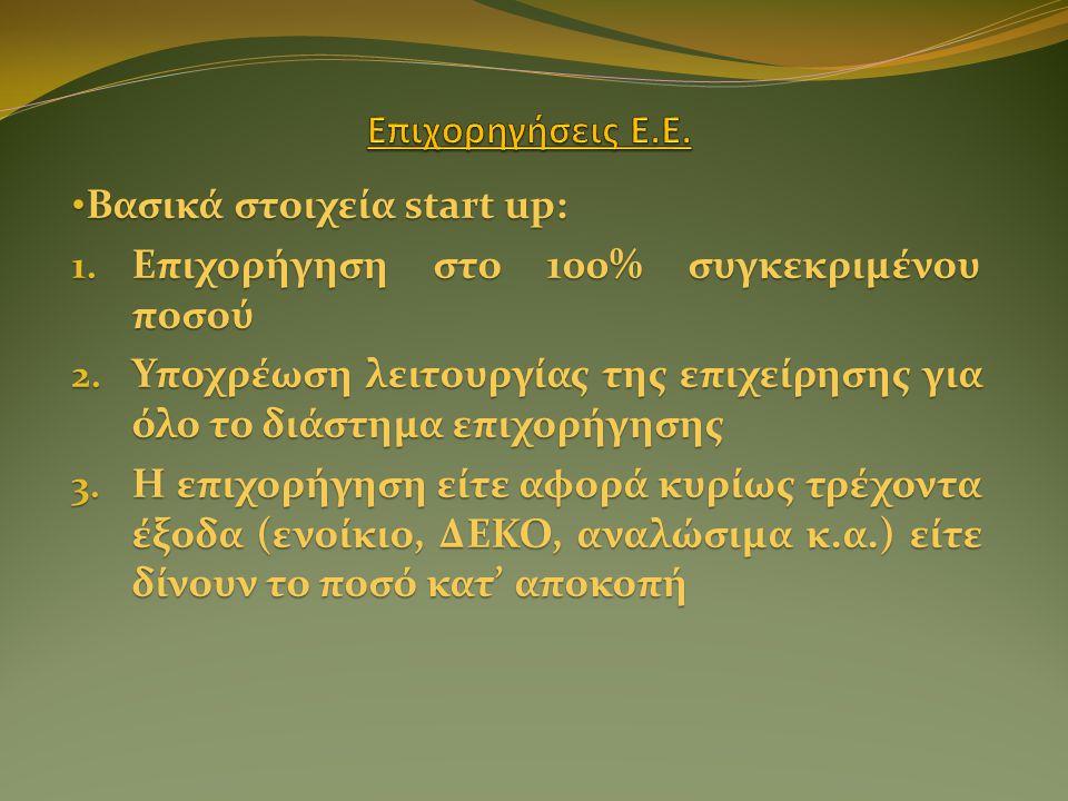 • Βασικά στοιχεία start up: 1. Επιχορήγηση στο 100% συγκεκριμένου ποσού 2.