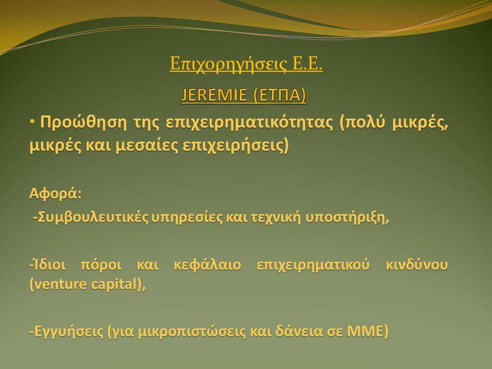 • Προώθηση της επιχειρηματικότητας (πολύ μικρές, μικρές και μεσαίες επιχειρήσεις) Αφορά: -Συμβουλευτικές υπηρεσίες και τεχνική υποστήριξη, -Συμβουλευτικές υπηρεσίες και τεχνική υποστήριξη, -Ίδιοι πόροι και κεφάλαιο επιχειρηματικού κινδύνου (venture capital), -Εγγυήσεις (για μικροπιστώσεις και δάνεια σε ΜΜΕ) Επιχορηγήσεις Ε.Ε.