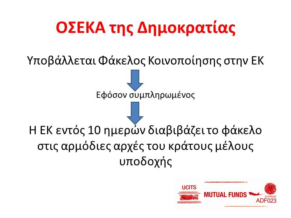 ΟΣΕΚΑ της Δημοκρατίας Υποβάλλεται Φάκελος Κοινοποίησης στην ΕΚ Εφόσον συμπληρωμένος Η ΕΚ εντός 10 ημερών διαβιβάζει το φάκελο στις αρμόδιες αρχές του