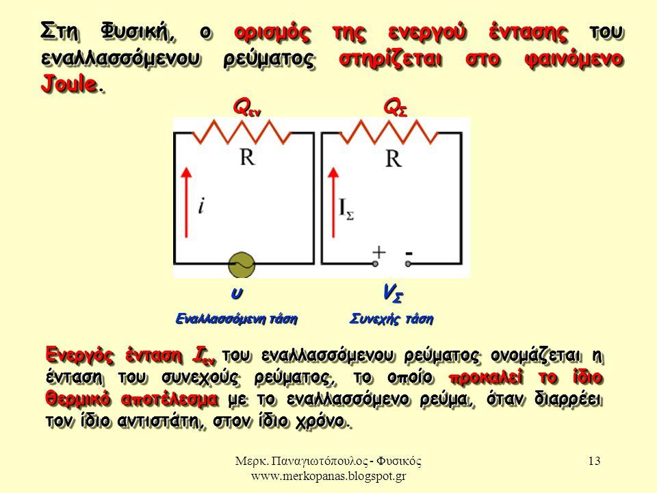 Μερκ. Παναγιωτόπουλος - Φυσικός www.merkopanas.blogspot.gr 13 Στη Φυσική, ο ορισμός της ενεργού έντασης του εναλλασσόμενου ρεύματος στηρίζεται στο φαι