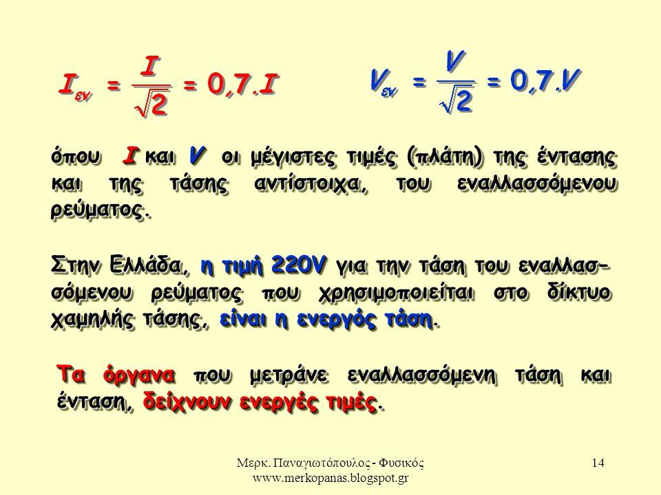 Μερκ. Παναγιωτόπουλος - Φυσικός www.merkopanas.blogspot.gr 14 όπου Ι και V οι μέγιστες τιμές (πλάτη) της έντασης και της τάσης αντίστοιχα, του εναλλασ