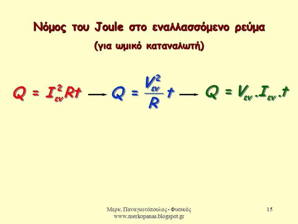 Μερκ. Παναγιωτόπουλος - Φυσικός www.merkopanas.blogspot.gr 15 Νόμος του Joule στο εναλλασσόμενο ρεύμα (για ωμικό καταναλωτή)