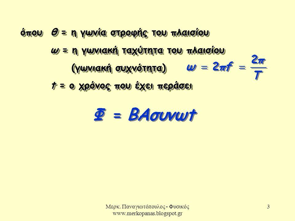 Μερκ. Παναγιωτόπουλος - Φυσικός www.merkopanas.blogspot.gr 3 όπου θ = η γωνία στροφής του πλαισίου ω = η γωνιακή ταχύτητα του πλαισίου ω = η γωνιακή τ