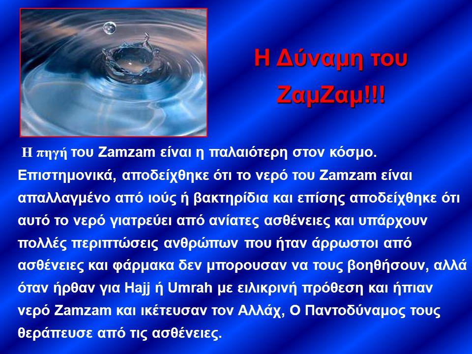 Η πηγή του Zamzam είναι η παλαιότερη στον κόσμο. Επιστημονικά, αποδείχθηκε ότι το νερό του Zamzam είναι απαλλαγμένο από ιούς ή βακτηρίδια και επίσης α