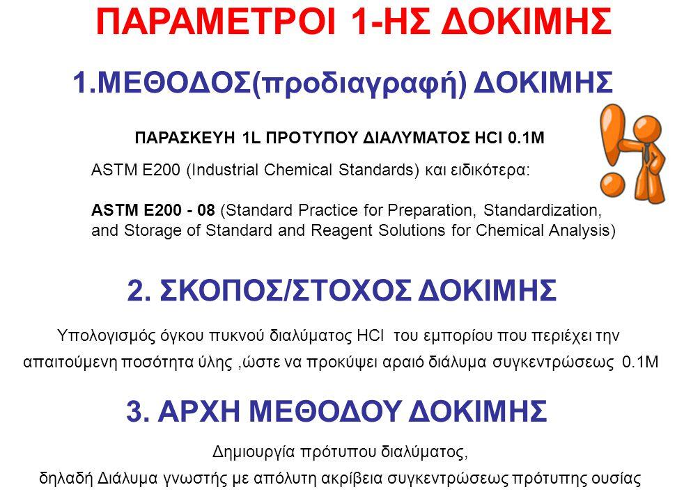 1.ΜΕΘΟΔΟΣ(προδιαγραφή) ΔΟΚΙΜΗΣ ASTM E200 (Industrial Chemical Standards) και ειδικότερα: ASTM E200 - 08 (Standard Practice for Preparation, Standardization, and Storage of Standard and Reagent Solutions for Chemical Analysis) 2.