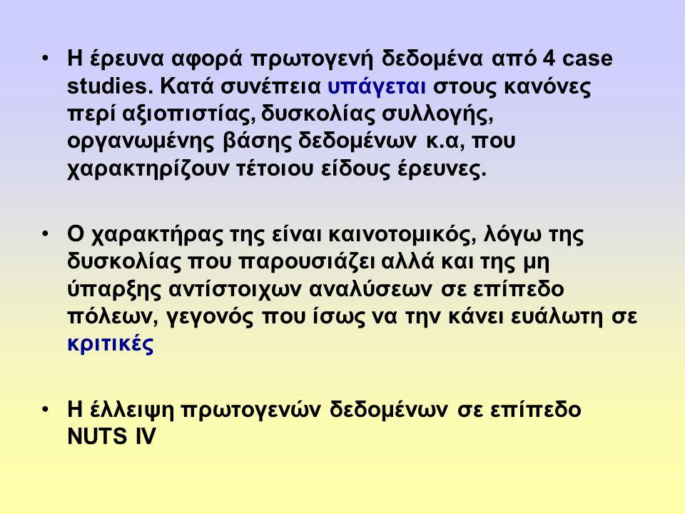 •Η έρευνα αφορά πρωτογενή δεδομένα από 4 case studies.